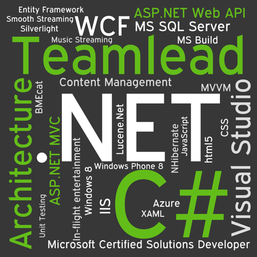 .NET, C#, Architecture, Teamlead, ASP.NET Web API, ASP.NET MVC, html5, MVVM, Azure, Music and Video Streaming, Content Management, Microsoft Certified Solutions Developer, XAML, CSS...